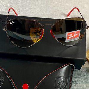 NWT RB3026 Ferrari Combined Khaki Sunglasses 62mm